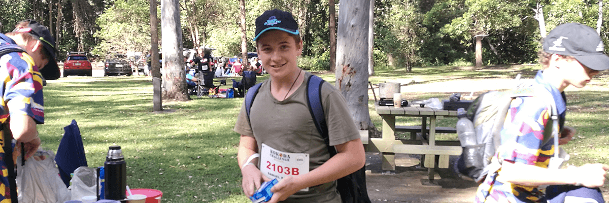 Sam Barham during the 2019 Kokoda Challenge in the Gold Coast taking a break in a park