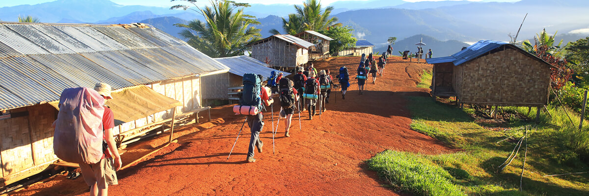 A group of people walking the Kokoda Track in Papua New Guinea