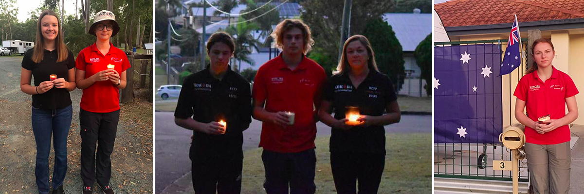 A collage of people holding candles in their driveways for the ANZAC Day At Home Dawn Service