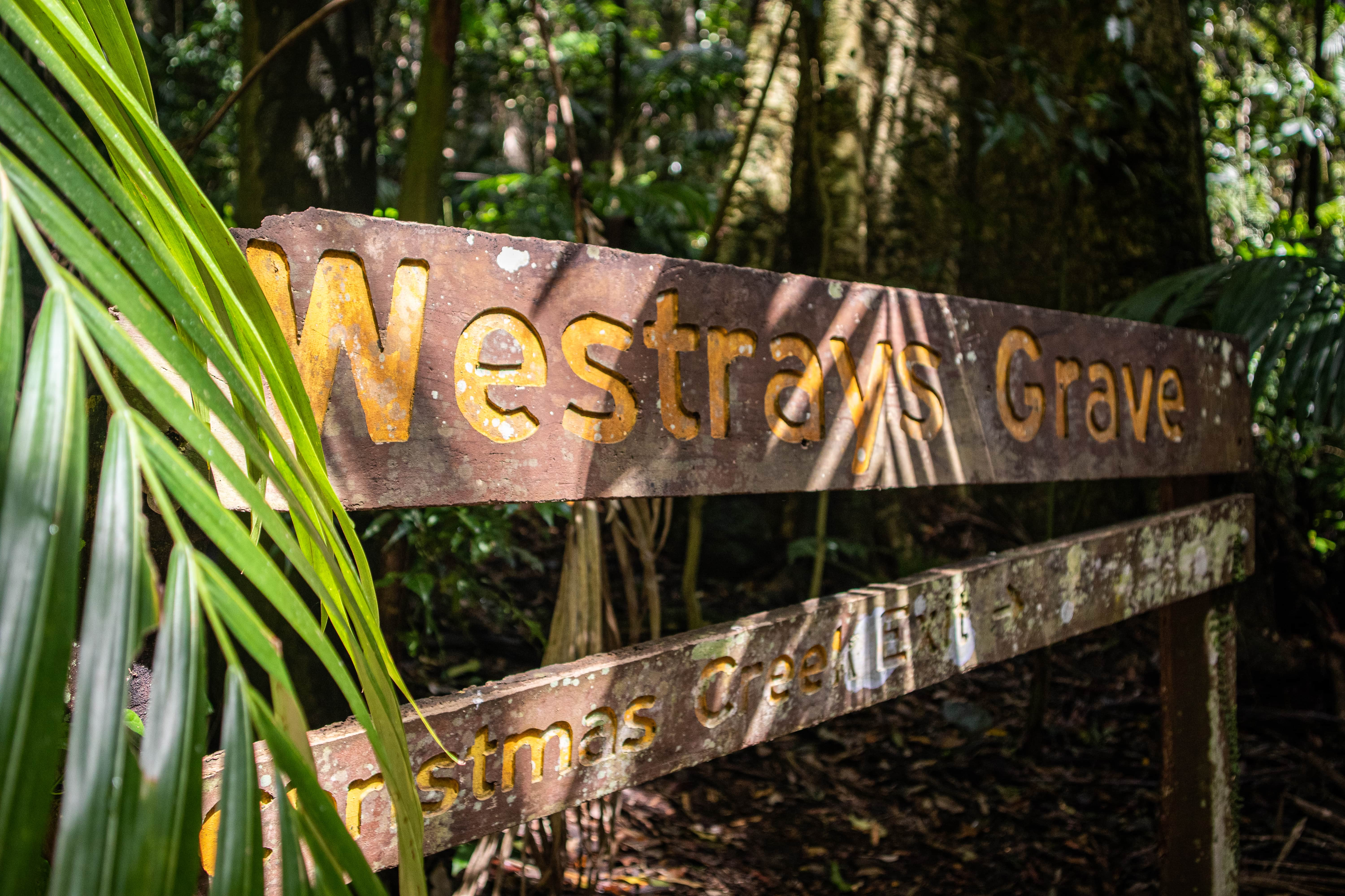A wooden sign in Lamington National Park, Gold Coast, Australia indicating Westray's Grave