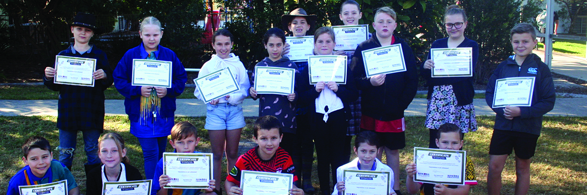 Students of Caboolture East State School presented with certificates after completing the Kokoda Virtual Challenge
