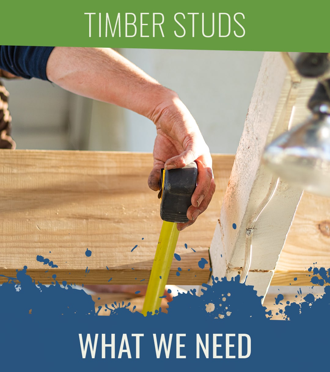 Man measuring a timber stud with a measuring tape